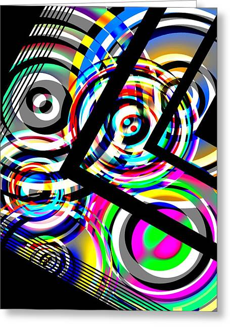 Transparency Geometric Greeting Cards - Colored Lines and Circles Art over Black Greeting Card by Mario  Perez