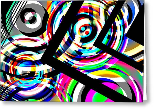 Colored Lines and Circles Art over Black Greeting Card by Mario  Perez