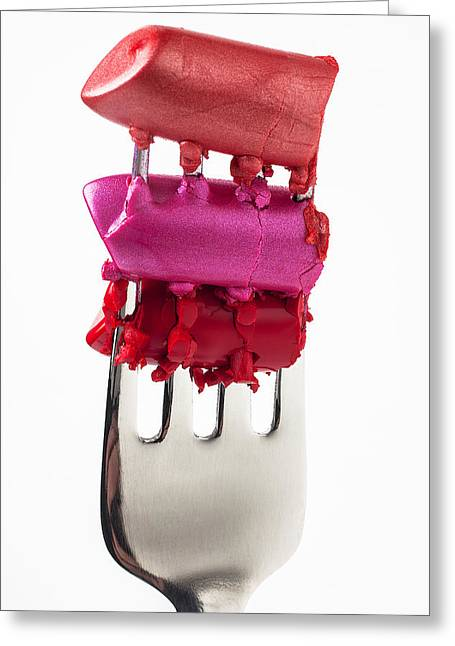 Appearances Greeting Cards - Colored lipstick On Fork Greeting Card by Garry Gay