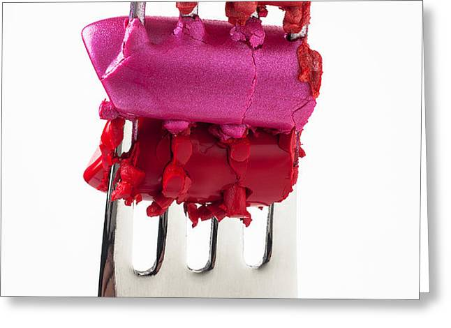 Colored lipstick On Fork Greeting Card by Garry Gay