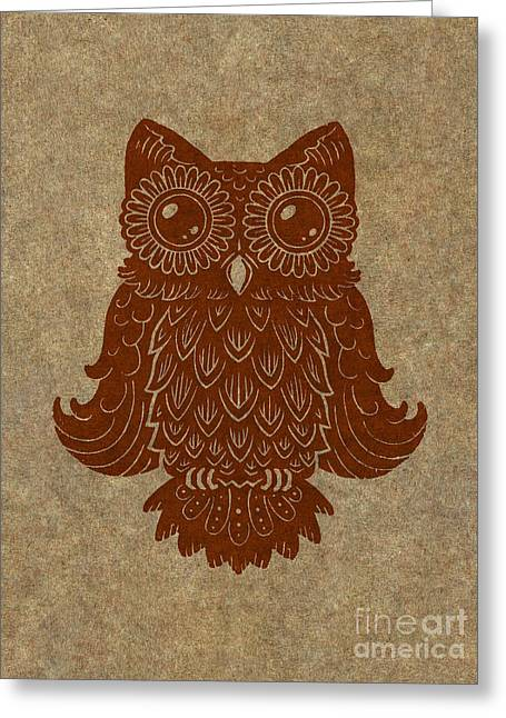 Lino Cut Paintings Greeting Cards - Colored Owl 2 of 4  Greeting Card by Kyle Wood