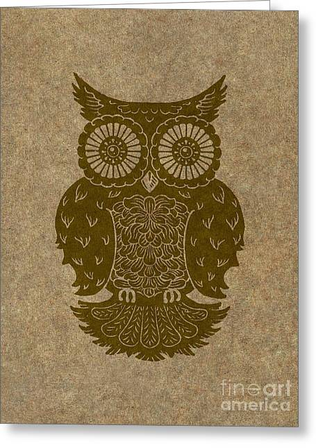 Lino Cut Paintings Greeting Cards - Colored Owl 3 of 4  Greeting Card by Kyle Wood