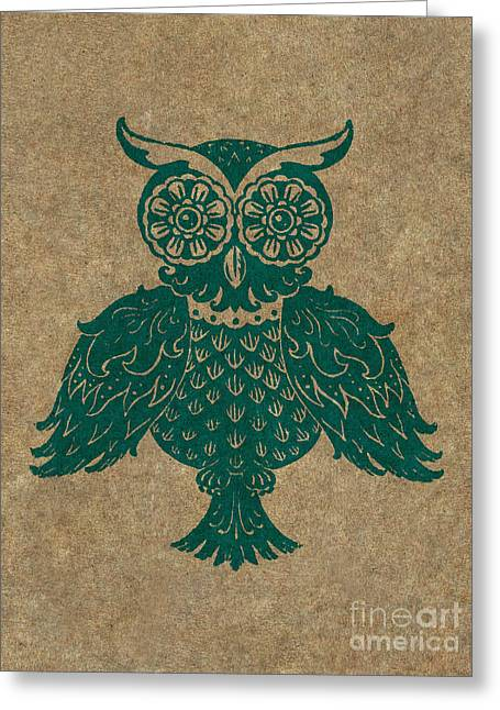 Lino Cut Paintings Greeting Cards - Colored Owl 4 of 4  Greeting Card by Kyle Wood