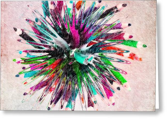 Helix Greeting Cards - Colored Pencil Abstract Greeting Card by Liane Wright