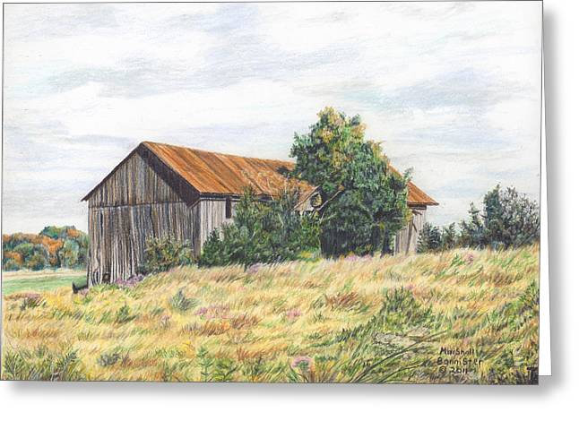 Colored Pencil Barn Greeting Card by Marshall Bannister
