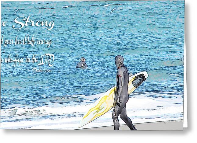 Surfing Photos Greeting Cards - Colored Pencil Sketch Photo Greeting Card by Beverly Guilliams