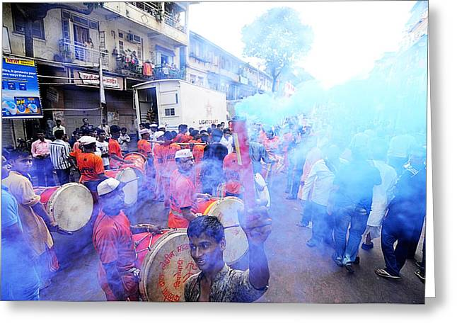 Govinda Greeting Cards - Colored Smoke Greeting Card by Money Sharma