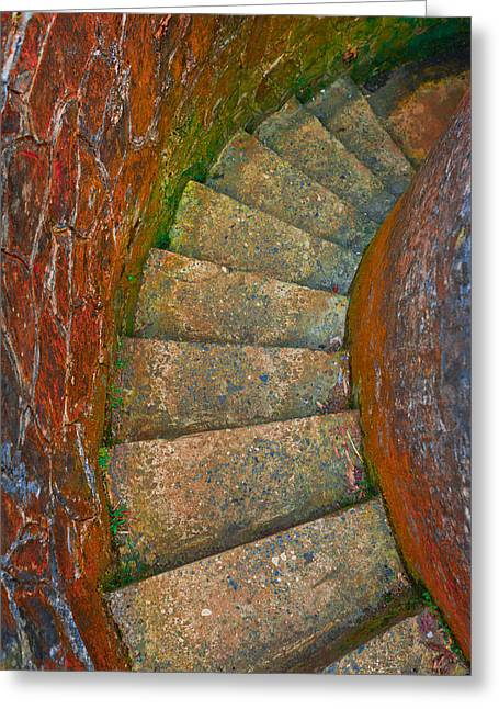 Stairway To Heaven Greeting Cards - Colored stairs Greeting Card by Chelsea Stockton