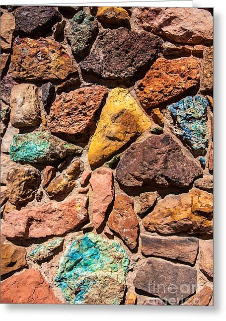 Colored Stones Greeting Cards - Colored Stone Rock Church Wall - Cedar City - Utah Greeting Card by Gary Whitton