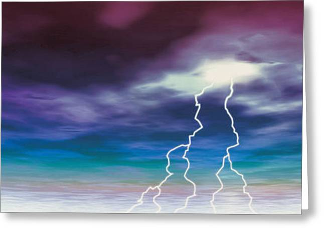 Lightning Photography Photographs Greeting Cards - Colored Stormy Sky W Angry Lightning Greeting Card by Panoramic Images