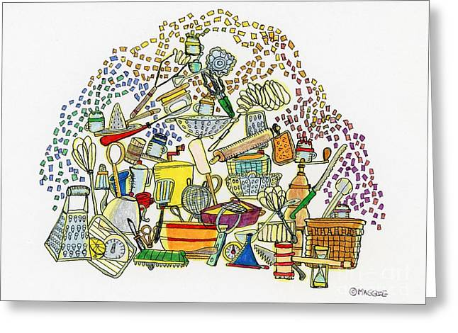 Culinary s Drawings Greeting Cards - Colored Sugar Shakers  Greeting Card by Mag Pringle Gire
