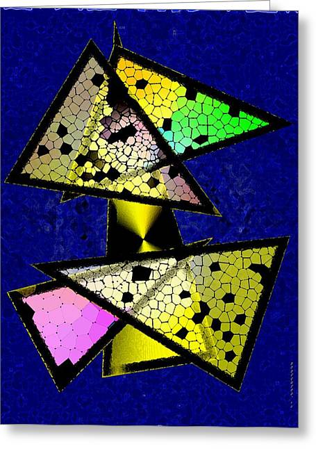 Transparency Geometric Greeting Cards - Colored Triangles Art Greeting Card by Mario  Perez