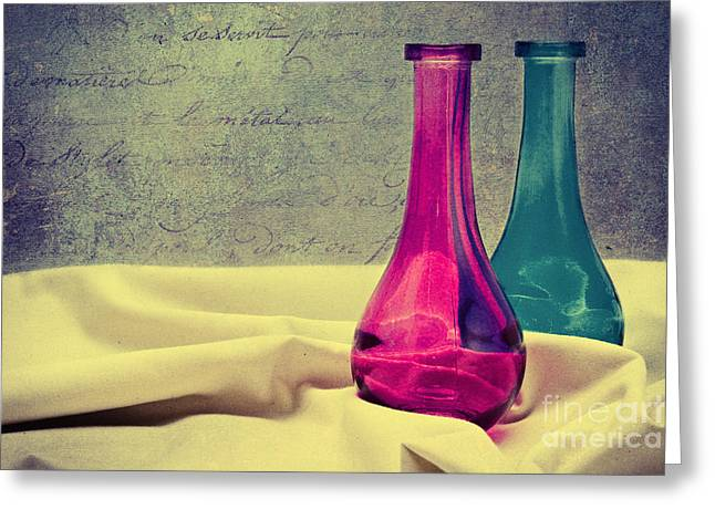 Cloth Mixed Media Greeting Cards - Colored vases Greeting Card by Angela Doelling AD DESIGN Photo and PhotoArt