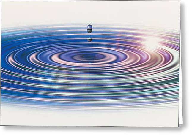 Abstract Movement Greeting Cards - Colored Water Drop Greeting Card by Panoramic Images