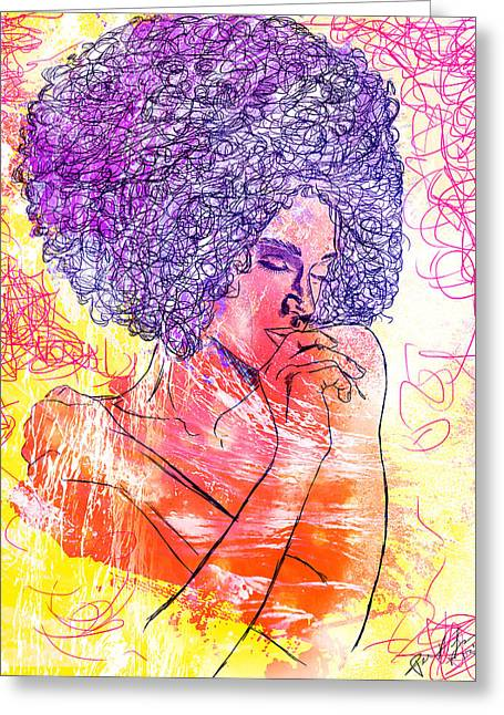Abstract Woman In Color Greeting Cards - Colored Woman Greeting Card by Kenal Louis