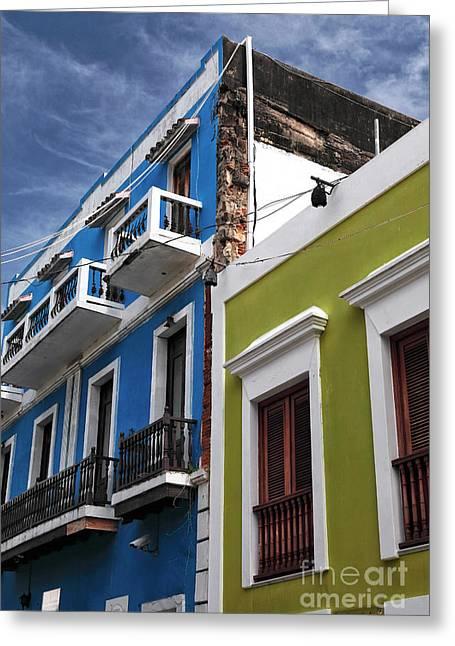 Old San Juan Greeting Cards - Colores del Edificio Greeting Card by John Rizzuto