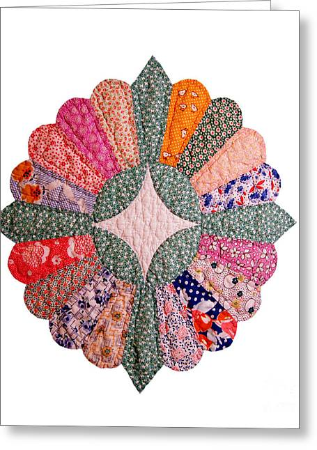 Colorful 1920s Quilt Block Isolated Greeting Card by Susan Montgomery