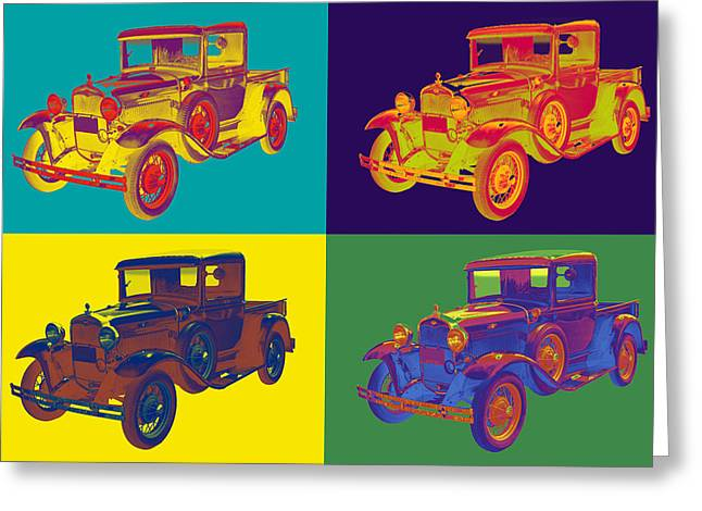 Retro Digital Art Greeting Cards - Colorful 1930 Model A Ford Pickup Truck Pop Art Greeting Card by Keith Webber Jr