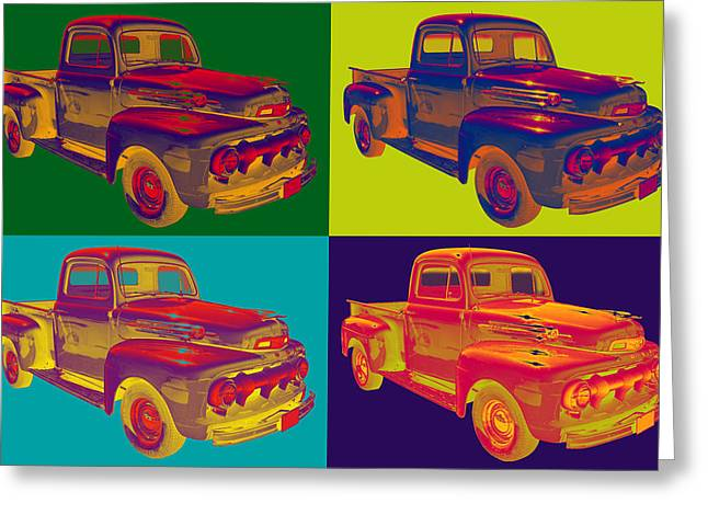 Pick-ups Greeting Cards - Colorful 1951 Ford F-1 Pickup Truck Pop Art  Greeting Card by Keith Webber Jr