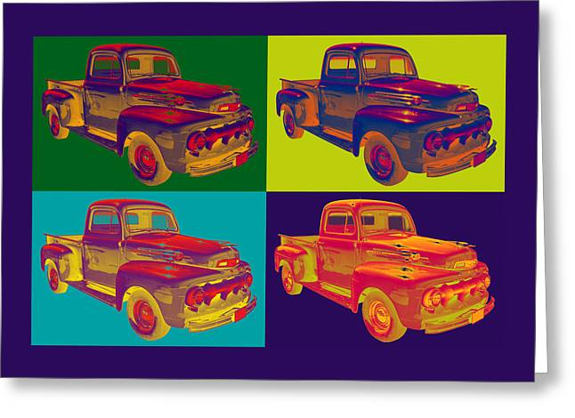 Old Trucks Greeting Cards - Colorful 1951 Ford F-1 Pickup Truck Pop Art  Greeting Card by Keith Webber Jr
