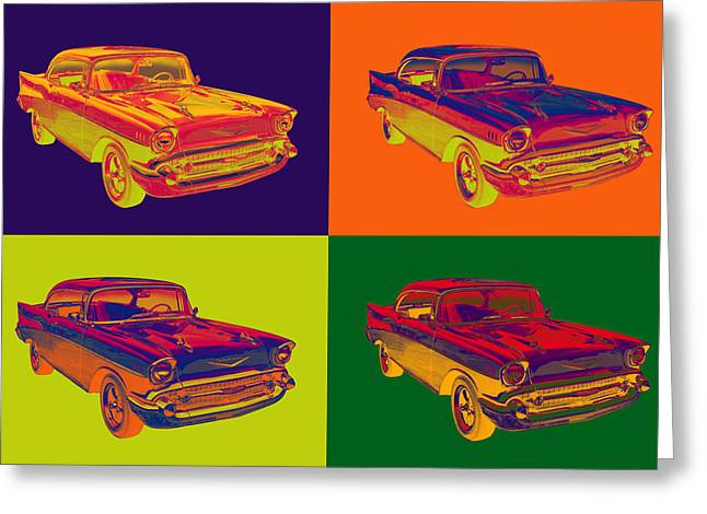 Polish American Art Greeting Cards - Colorful 1957 Chevy Bel Air Car Pop Art  Greeting Card by Keith Webber Jr