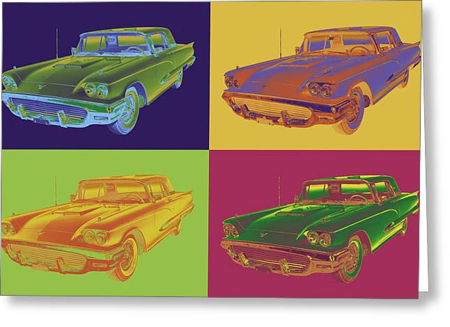 Retro Digital Art Greeting Cards - Colorful 1958  Ford Thunderbird Car Pop Art Greeting Card by Keith Webber Jr