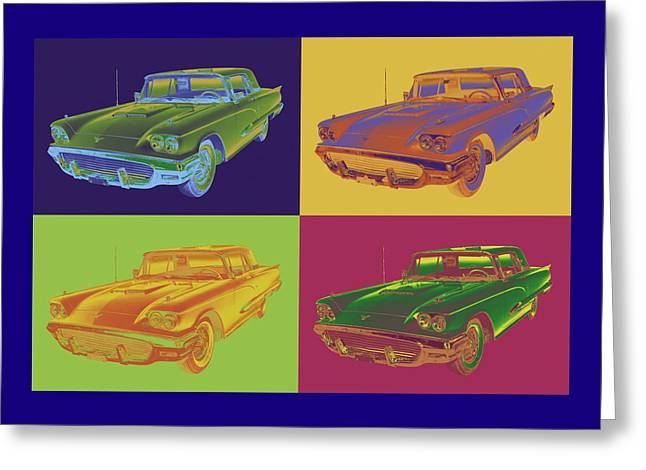 Motor Vehicles Greeting Cards - Colorful 1958  Ford Thunderbird Car Pop Art Greeting Card by Keith Webber Jr