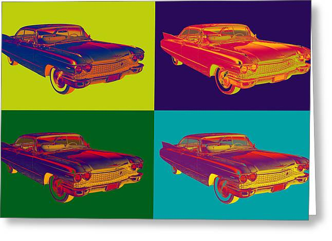 Oldtimer Greeting Cards - Colorful 1960 Cadillac Luxury Car Popart Greeting Card by Keith Webber Jr