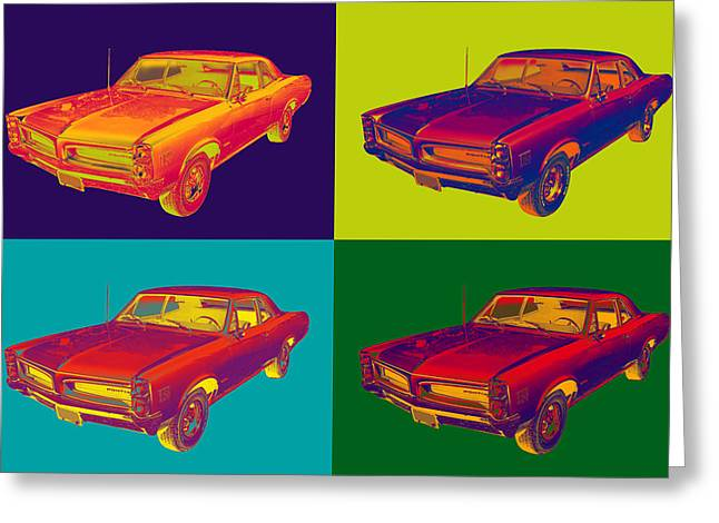 Leman Greeting Cards - Colorful 1966 Pointiac Lemans Car Pop Art Greeting Card by Keith Webber Jr