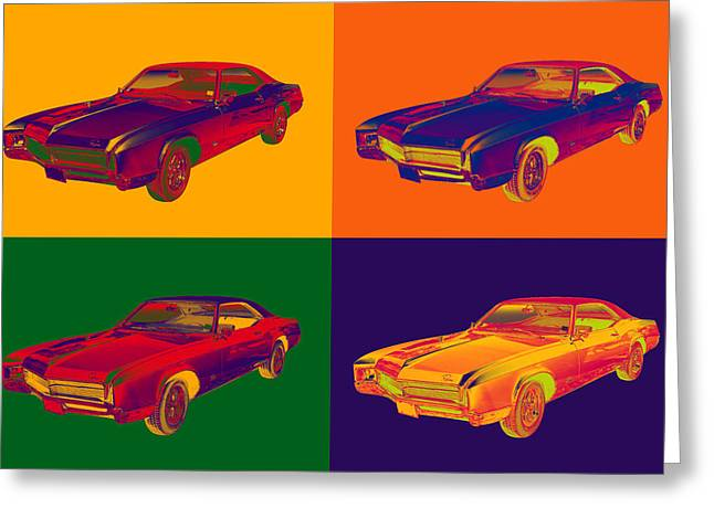 High-performance Luxury Car Greeting Cards - Colorful 1967 Buick Riviera Pop Art Greeting Card by Keith Webber Jr