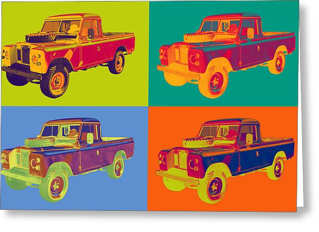 Classic Automobile Art Greeting Cards - Colorful 1971 Land Rover Pick up Truck Pop Art Greeting Card by Keith Webber Jr