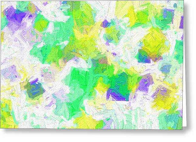 Green And Yellow Greeting Cards - Colorful Abstract 111 Panorama Greeting Card by Andee Design