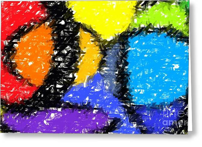 Vivid Colour Greeting Cards - Colorful Abstract 3 Greeting Card by Chris Butler