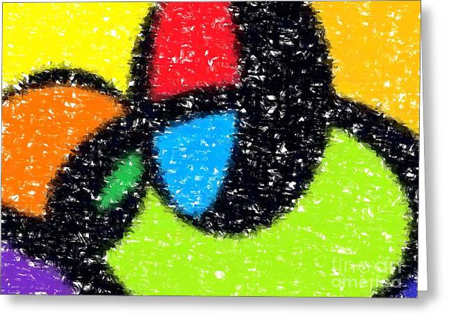 Shape Greeting Cards - Colorful Abstract 5 Greeting Card by Chris Butler