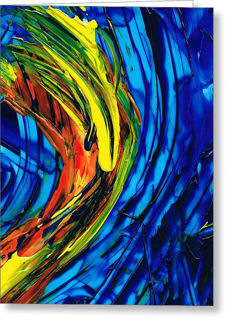 Blues And Yellows Greeting Cards - Colorful Abstract Art - Energy Flow 2 - By Sharon Cummings Greeting Card by Sharon Cummings