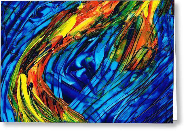 Large Prints Paintings Greeting Cards - Colorful Abstract Art - Energy Flow 3 - By Sharon Cummings Greeting Card by Sharon Cummings