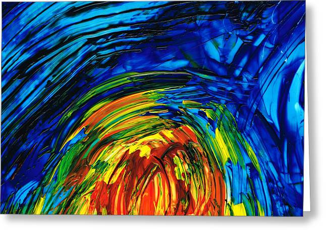 Large Prints Paintings Greeting Cards - Colorful Abstract Art - Energy Flow 6 - By Sharon Cummings Greeting Card by Sharon Cummings