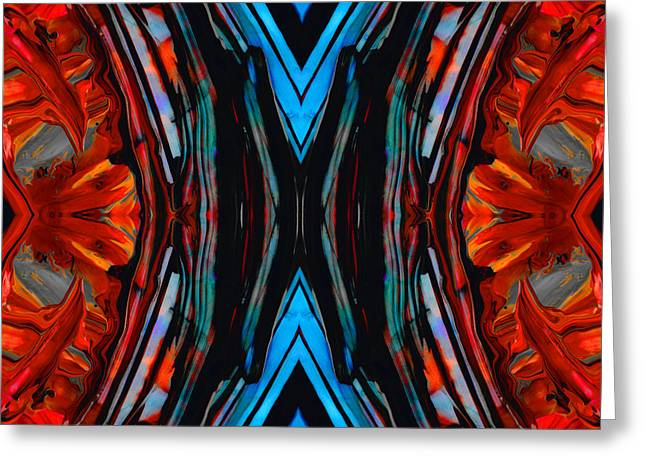Double Image Greeting Cards - Colorful Abstract Art - Expanding Energy - By Sharon Cummings Greeting Card by Sharon Cummings