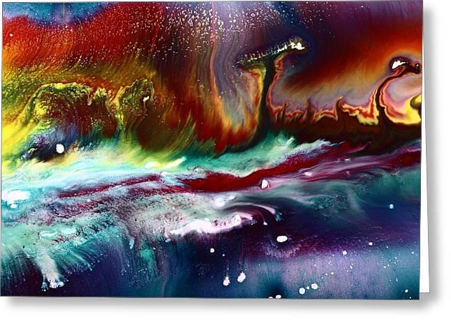 Colorful Abstract Art Vivid Colors Rainbow Landscape By Kredart  Greeting Card by Serg Wiaderny