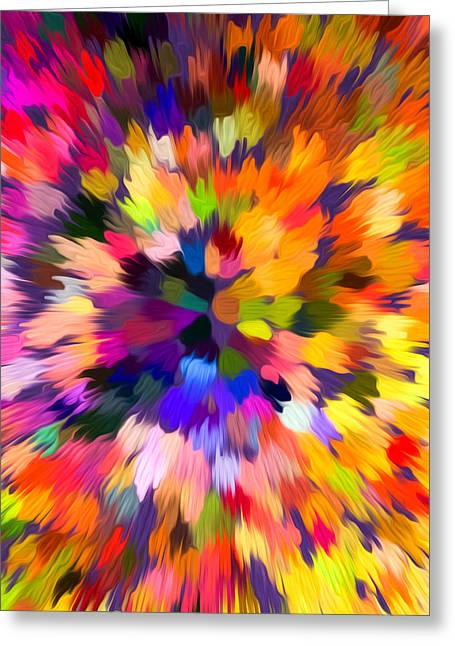Geometric Effect Paintings Greeting Cards - Colorful abstract background Greeting Card by Lanjee Chee