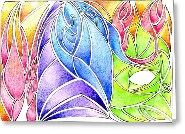 Harts Drawings Greeting Cards - Colorful Abstract Drawing Greeting Card by Minding My  Visions by Adri and Ray