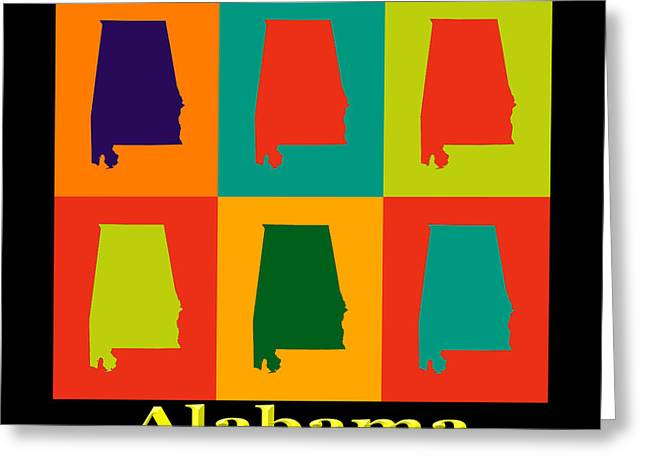 Alabama Greeting Cards - Colorful Alabama State Pop Art Map Greeting Card by Keith Webber Jr