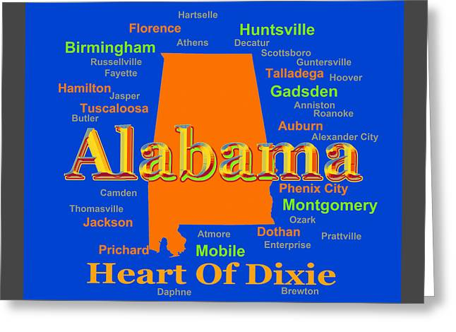 Ozark Alabama Greeting Cards - Colorful Alabama State Pride Map Silhouette  Greeting Card by Keith Webber Jr