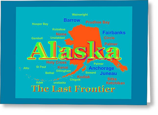 Kodiak Digital Greeting Cards - Colorful Alaska State Pride Map Silhouette  Greeting Card by Keith Webber Jr