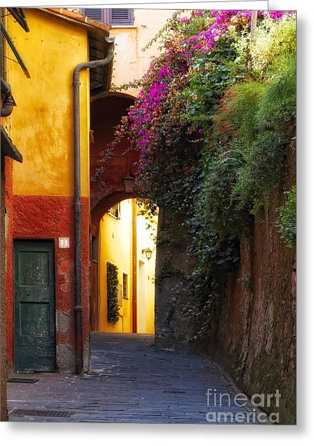 Portofino Italy Art Greeting Cards - Colorful Alley in Portofino Greeting Card by George Oze
