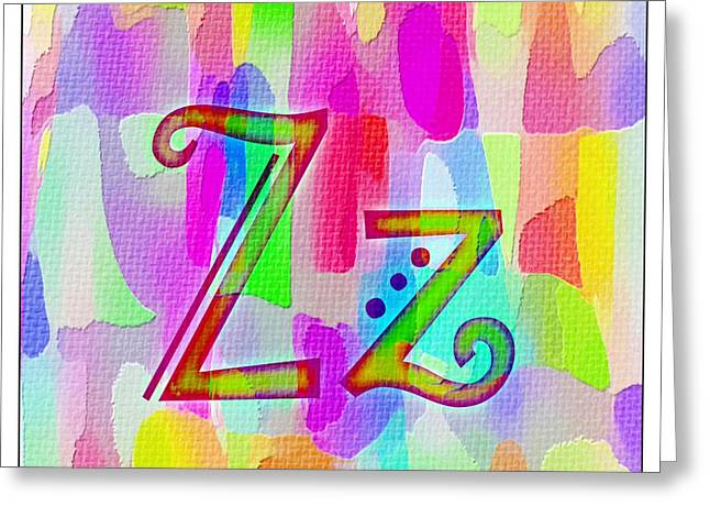 Zed Greeting Cards - Colorful Texturized Alphabet Zz Greeting Card by Barbara Griffin