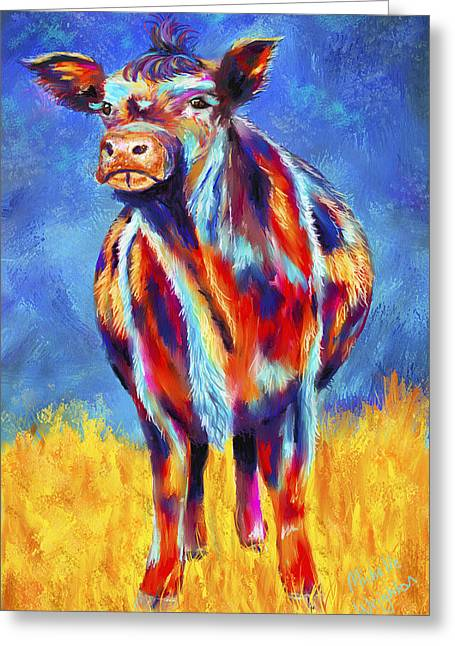 Cow Greeting Cards - Colorful Angus Cow Greeting Card by Michelle Wrighton