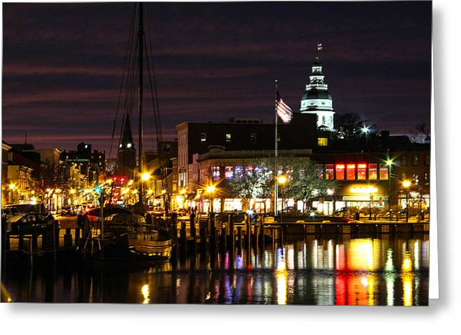 Annapolis Greeting Cards - Colorful Annapolis Evening Greeting Card by Jennifer Casey