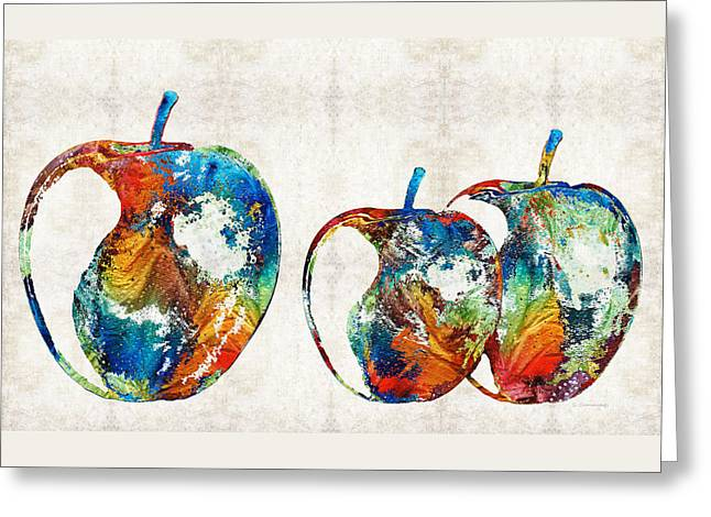 Paintng Greeting Cards - Colorful Apples by Sharon Cummings Greeting Card by Sharon Cummings
