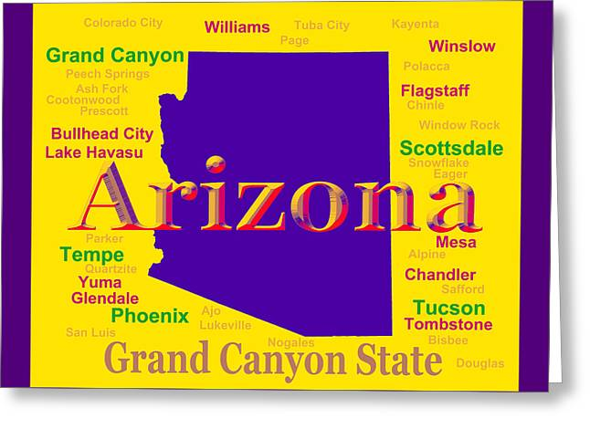 Grand Canyon State Greeting Cards - Colorful Arizona State Pride Map Silhouette  Greeting Card by Keith Webber Jr